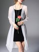 White See-through Look Casual Shift Silk Coat