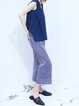 Blue H-line Cotton Work Wide Leg Pants