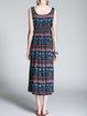 Multicolor A-line Sleeveless V Neck Midi Dress