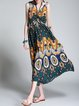 Printed Sleeveless Tribal Beach Polyester Midi Dress