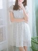 White Sweet Keyhole Polka Dots Mini Dress