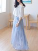 Light Blue Swing Sweet Pleated Maxi Skirt