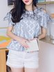Gray Bow Crew Neck Sweet Blouse