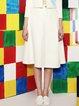 White Polyester Plain Simple Midi Skirt