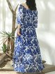 Floral Vintage Off Shoulder Long Sleeve Maxi Dress