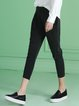 Black Polyester Gathered Casual Skinny Leg Pants