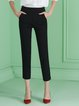 Black Viscose Work Plain Straight Leg Pant
