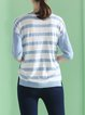 Light Blue Stripes Half Sleeve Blouse