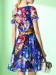 Blue Crew Neck Floral Short Sleeve Silk Mini Dress