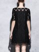 Black Embroidered H-line Crew Neck Casual Mini Dress