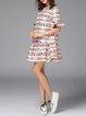 Multicolor Shift Polyester Crew Neck Sweet Mini Dress
