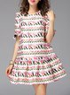 Multicolor Shift Polyester Crew Neck Sweet Mini Dress