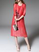 Red Crew Neck Half Sleeve Silk-blend Floral Midi Dress