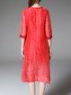 Red Crew Neck Half Sleeve Silk-blend Floral Midi Dress