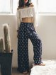 Dark Blue Polyester Beach H-line Wide Leg Pants