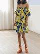 Yellow Floral Off-shoulder A-line Vintage Mini Dress