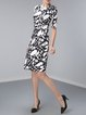 A-line Half Sleeve Work Bateau/boat Neck Printed Midi Dress