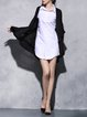 Black Linen Long Sleeve Plain Asymmetric Coat