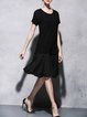 Black Cotton Short Sleeve Paneled Midi Dress
