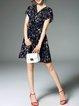 Dark Blue Short Sleeve Polyester Printed Mini Dress