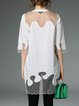 White 3/4 Sleeve H-line Polyester Tunic