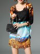 3/4 Sleeve Vintage H-line Printed Mini Dress