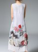 White Vintage Floral-print Crew Neck A-line Midi Dress