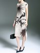 Beige Elegant Floral Midi Dress