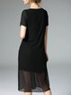 Black Simple Polyester Slit A-line Midi Dress