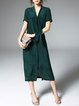Green Shirt Collar Silk Solid Sleeveless Midi Dress