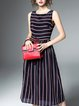 Multicolor Sleeveless A-line Printed Midi Dress