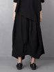 Black Statement Asymmetric A-line Plain Culottes Pants