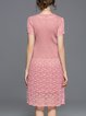 Pink Casual Paneled Midi Dress