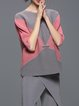 Gray H-line Color-block 3/4 Sleeve Blouse
