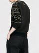 Crew Neck Long Sleeve Casual Embroidered Cotton-blend Sweatshirt