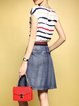 Multicolor Stripes Crew Neck Short Sleeve Dress