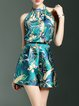 Green Resort Printed Polyester Romper