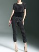 Black Short Sleeve Crew Neck Two Piece Stripes Jumpsuit