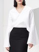 Cotton Frill Sleeve Casual Plain V Neck Blouse