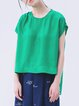 Statement Frill Sleeve Asymmetric Viscose Crew Neck Short Sleeved Top