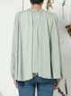 Light Green Draped Long Sleeve Crew Neck Chiffon Blouse