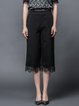Black H-line Crochet-trimmed Casual Wide Leg Pants