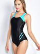 Black Padded Scoop Neckline Cut-outs One-Piece