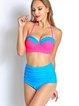 Multicolor Plain Halter Ruched Bikini