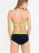Multicolor Color-block Plain Bikini