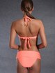 Orange Nylon Wireless Halter Bikini