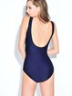 Dark Blue Stripes Printed One-Piece