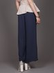 Dark Blue Casual Plain Pockets Wide Leg Pant