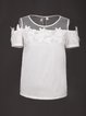 White Crew Neck Appliqued Short Sleeve Blouse
