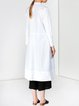 White Plain Cotton H-line Casual Midi Dress